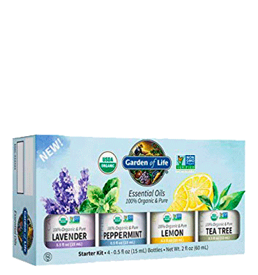 GARDEN OF LIFE, Aceite Esencial Starter Pack, Lavenda, Peppermint, Lemon, Tea Tree Orgánico, 4 pax