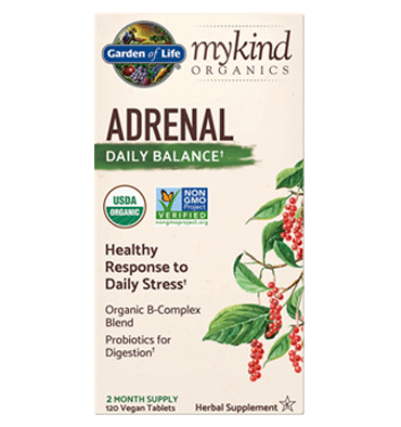 GARDEN OF LIFE, Mykind Herbal,Herbal Adrenal 120 tabs.