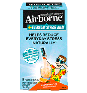 AIRBORNE, Everyday Stress Away Zesty Orange – 16 Powder Packets