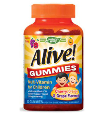 NATURE'S WAY, Alive! Gummies Multi-Vitamin for Children sabor Cereza Naranja y Uva,  90 Gummies