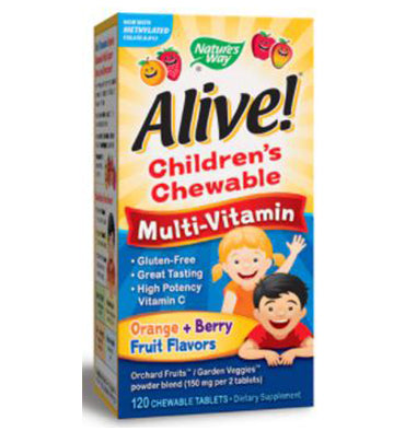 NATURE'S WAY, Alive! Children's Chewable Multi Vitamin  sabor Naranja y Berry, 120 Chews
