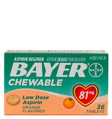 BAYER ,Chewable Low Dose Aspirin sabor Naranja 81 mg, 36 Chews