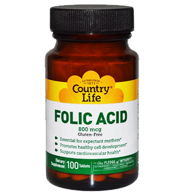 COUNTRY LIFE,  Folic Acid 800 mcg, 100 Tabs