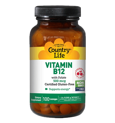 COUNTRY LIFE, Vitamina B12 sabor Cereza 500 mcg, 100 Lozenges