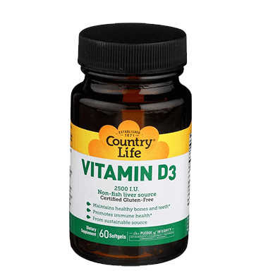 COUNTRY LIFE, Vitamina D3 2500 IU, 62.5 mcg, 60 Softgels