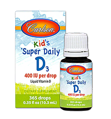 CARLSONS KID'S, Super Daily D3, 400 IU, 365 Drops