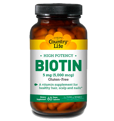 COUNTRY LIFE, Biotin High Potency 5 mg, 60 Vcaps