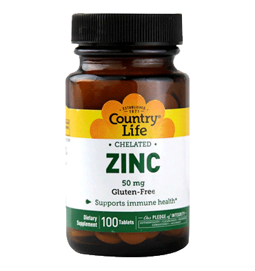 COUNTRY LIFE, Zinc Quelado, 50 mg, 100 tabs.