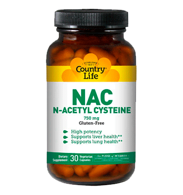 COUNTRY LIFE, N Acetyl Cysteine  (NAC) 750 mg, 30 Vcaps