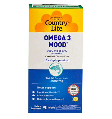 COUNTRY LIFE, Omega 3, Estado Ánimo, 90 Softgels