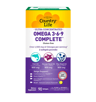 COUNTRY LIFE, Ultra Concentrated Omega 3 6 9, 90 Softgels