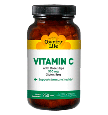 COUNTRY LIFE, Vitamina C with Rose Hips 500 mg, 250 Tablets
