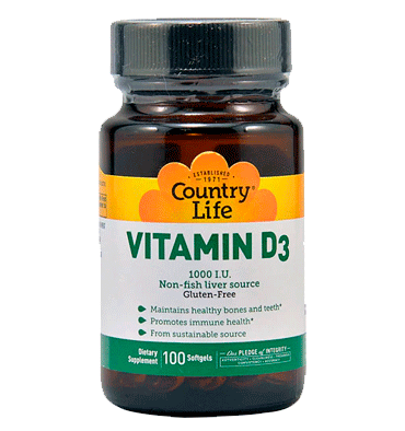 COUNTRY LIFE, Vitamina D3 1000 IU, 100 Softgels