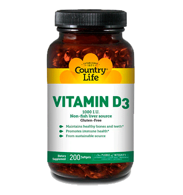 COUNTRY LIFE, Vitamina D3 1000 IU, 25 mcg, 200 Softgels