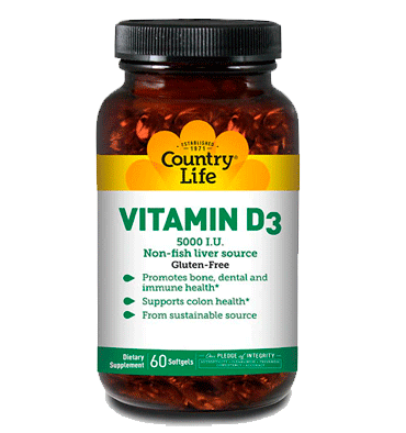 COUNTRY LIFE, Vitamina D3 5000 IU, 60 Softgels