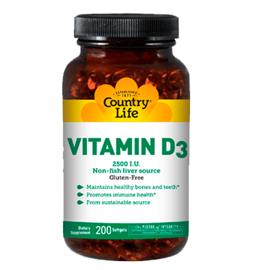 COUNTRY LIFE, Vitamina D3 2500 IU, 62.5 mcg, 200 Softgels