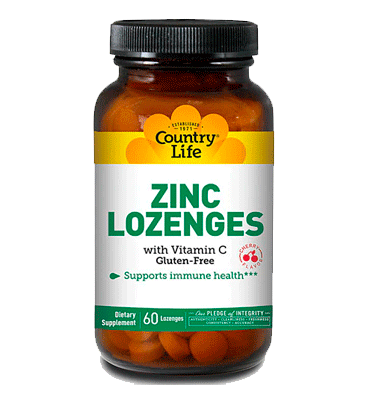 COUNTRY LIFE, Zinc Lozenges con Vitamin C sabor Cereza, 60 Lozenges