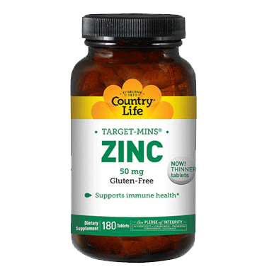COUNTRY LIFE, Zinc Target-Mins, 50 mg, 180 tabs.