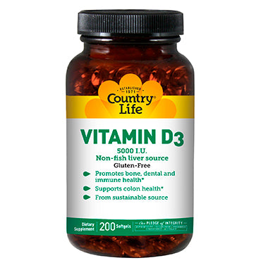 COUNTRY LIFE, Vitamina D3 5000 IU, 125 mcg, 200 Softgels