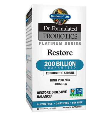 GARDEN OF LIFE, DR. FORMULATED, Probióticos Restore Platinum Series 200 billion, 28 vcap