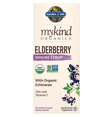 GARDEN OF LIFE, Mykind Herbal, Elderberry Syrup, 195 ml.