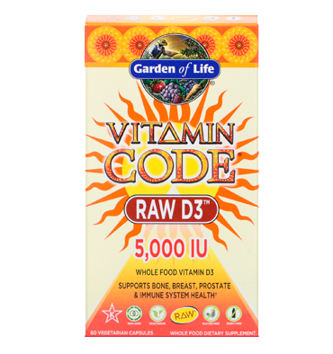 GARDEN OF LIFE, VITAMIN CODE RAW D3 5,000 IU, 60 vcaps.