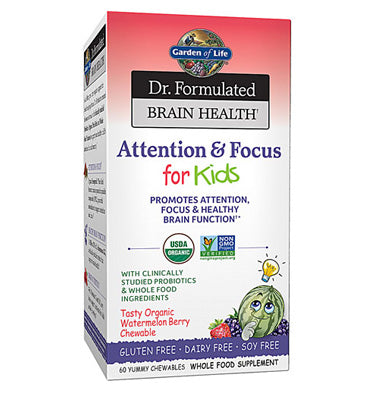 GARDEN OF LIFE, DR. FORMULATED, Attention and Focus, para Niños, 60 pastillas masticables