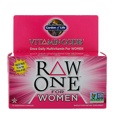 GARDEN OF LIFE, VITAMIN CODE, RAW One Multivitamin for Women – 75 Vcaps.