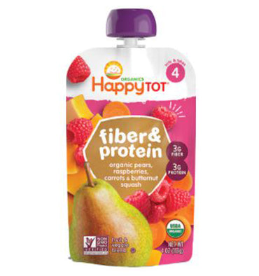 HAPPY BABY, Fiber y Protein Organic Toddler stage 4, Pear, Raspberry, Butternut Squash y Carrot, 113 gr.