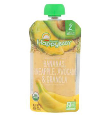 HAPPY BABY, Organic Baby Food Stage 2 Bananas, Pineapple, Avocado y Granola 113.5 gr.