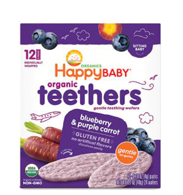 HAPPY BABY, Organic Teethers Baby Food Blueberry y Purple Carrot, 48 gr.