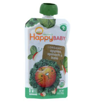HAPPY BABY, Simple Combos Stage 2 Organic Baby Food Spinach, Apples y Kale, 113 gr.