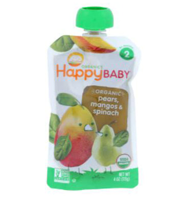 HAPPY BABY, Simple Combos Stage 2 Organic Baby Food Spinach, Mangos y Pear, 100 gr.