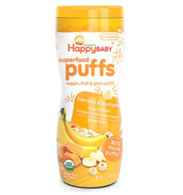 HAPPY BABY, Superfood Puffs Organic Baby Food Bananas y Pumpkin, 59.5 gr.