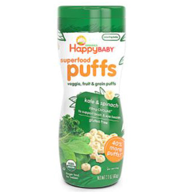 HAPPY BABY, Superfood Puffs Organic Baby Food Kale y Spinach, 59.5 gr.