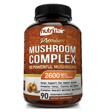 NUTRIFLAIR, Mushroom Supplement 2600mg, 90 Caps