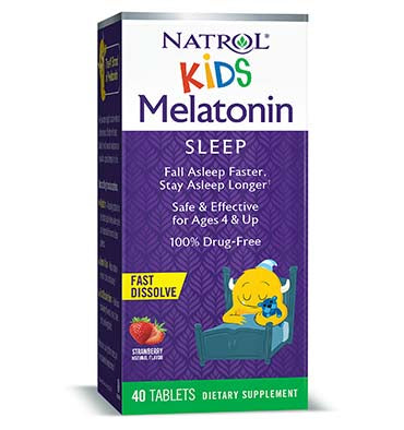 NATROL, Melatonina Kids Melatonin Fast Dissolve Tabs sabor Fresa 1 mg, 40 Tables