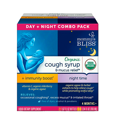 MOMMY'S BLISS, Organic Cough Syrup & Mucus Relief Day & Night Combo Pack – 3.34 fl oz
