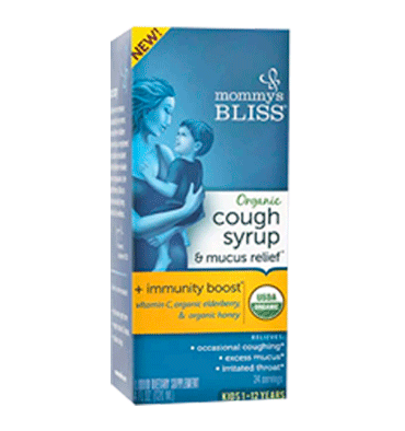 MOMMY´S BLISS, Organic Cough Syrup & Mucus Relief + Immunity Boost Liquid Kids 1-12 Years – 8 fl oz