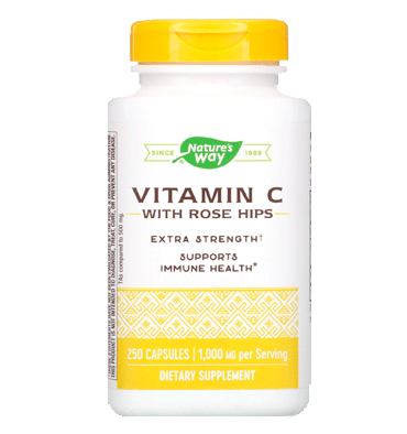 NATURE'S WAY, Vitamina C with Rose Hips 500 mg 250 Caps