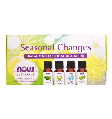 NOW SOLUTIONS, Seasonal Changes Balancing Essential Oils Kit, 1 Kit 4 aceites