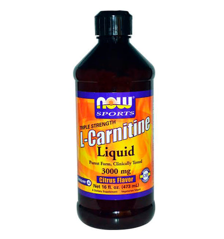 NOW SPORTS, L-Carnitina líquida 3000 mg, Sabor Citrus, 473 ml.