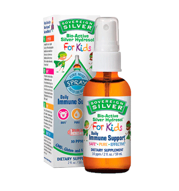 NATURAL IMMUNOGENICS SOVEREIGN, Plata Coloidal Bio-Active Hydrosol para Niños, 10 ppm, 59 ml.
