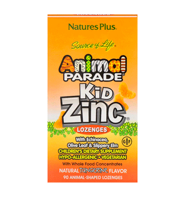 NATURES PLUS, Animal Parade Kid Zinc Lozenges sabor mandarina 90 tabs
