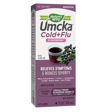 NATURE'S WAY, Umcka, Jarabe de Elderberry Nighttime Gripa + Resfriado, sabor Berry, 120 ml