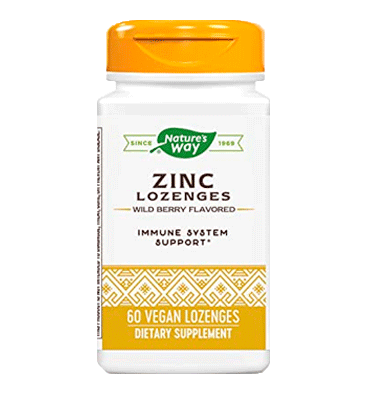 NATURE'S WAY, Zinc Lozenges sabor Wild Berry, 60 Lozenges