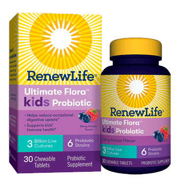 RENEW LIFE, Ultimate Flora Kids Probiotic sabor Berry 3 billion, 30 Chews