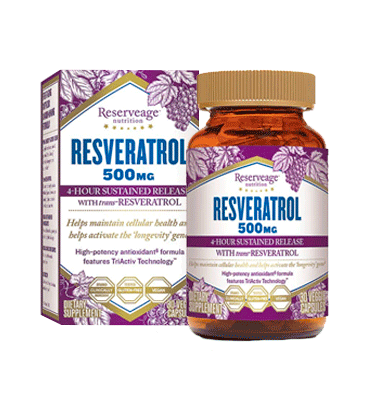 RESERVEAGE NUTRITION, Resveratrol, 500 mg, 30 vcaps.
