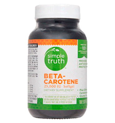 SIMPLE TRUTH,  Betacaroteno 25000 IU - 100 Softgels