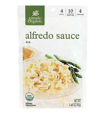 SIMPLY ORGANIC, Seasoning Mix Alfredo Sauce, 44 gr.